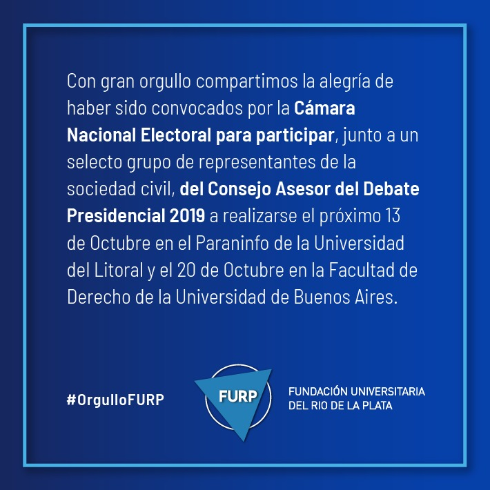 Photo for: LA FURP SERÁ PARTE DEL CONSEJO ASESOR DEL DEBATE PRESIDENCIAL 2019